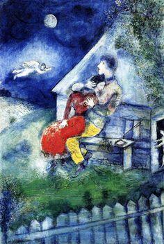 1929 Marc Chagall Les Amoureux  Huile sur Toile  55x38cm Tel-Aviv, Museum of Art