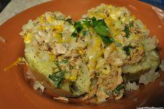 Microwave tuna stuffed potatoes with cheese