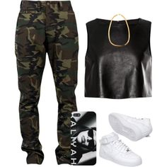 Black Faux Leather Crop Top, Camo Cargo Pants, White Nike @1π F°®©€ 1$, Black/White Aaliyah IPhone Case, Gold Chain