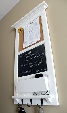 Vertical Wall Tall Chalkboard Cork Bulletin Board with by Rozemake