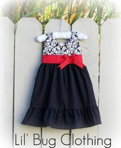 Flower Girl Dress Or Christmas Dress Black Red Damask Jumper Red Sash Bug Clothing, Sewing Clothes, Boutique Clothing, Clothing Ideas, Girls Dresses, Flower Girl Dresses, Summer Dresses, Dress Girl, Dress Red