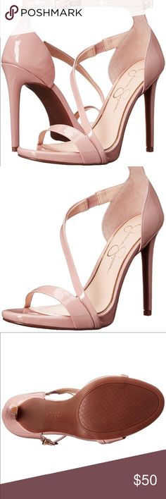 """Just InJessica Simpson Rayli Nude Blush Heels NWOBJessica Simpson Rayli Heels is a gorgeous strappy dress shoe with an adjustable ankle strap for a secure fit. Heel Height: 4"""" Front Height: 1/4""""  Synthetic Patent Rubber sole Memory foam Metal Buckle Asymmetrical strap Jessica Simpson Shoes Heels"""