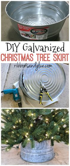 rustic christmas tree DIY Galvanized Bucket Christmas Tree Skirt made out of a steel bucket. Easy and inexpensive DIY Christmas tree skirt perfect for that rustic Christmas look. Farmhouse Christmas Tree Skirts, Diy Christmas Tree Skirt, Pencil Christmas Tree, Country Christmas Trees, Noel Christmas, Winter Christmas, Christmas Christmas, Christmas Tree Bucket, Rustic Christmas Crafts