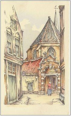 Oude ansichtkaart, Begijnhof Amsterdam, Hoefman
