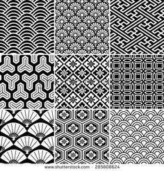 Seamless vector pattern set. Traditional japanese ornamental motives. - stock vector