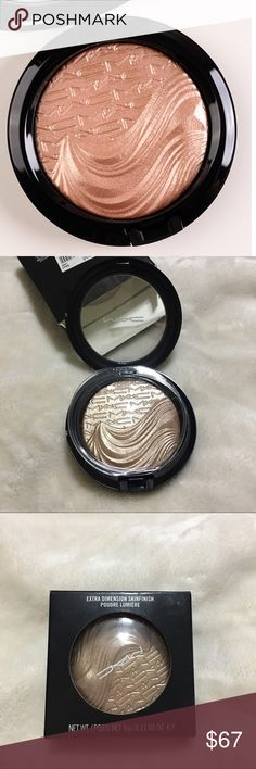 """MAC Superb Extra Dimension Skinfinish/Highlighter NWT described as a """"soft peachy nude."""" It's a champagne beige with a little hint of rosiness and a champagne metallic sheen. ~HARD TO FIND!~ I'm going through my makeup collection and clearing out stuff that I will never get the chance to use, therefore selling. 100% Aunthentic MAC Cosmetics Makeup"""