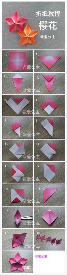 Origami: tutorial flores de papel                                                                                                                                                                                 Más