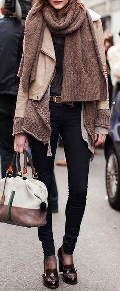 love the knits layered with the moto jacket.