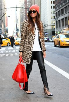 Leopard coat and red bag