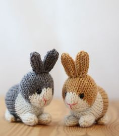 Spring will be here before you know it. Start knitting little rabbits now to fill the Easter baskets of all the little people you know. Bonus- when knitted on these small size needles, these tiny rabbits fit into large plastic Easter eggs.