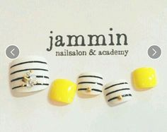Spring & summer nail art. Stripes, pedicure, yellow, embellishments