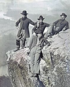 8 by 10 Civil War Photo 4 Union Soldiers Atop Lookout Mountain Tennessee