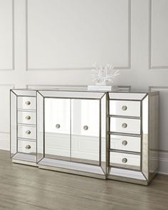 Shop Shilo Two-Door Mirrored Sideboard at Horchow, where you'll find new lower shipping on hundreds of home furnishings and gifts. Mirrored Sideboard, Mirrored Furniture, Cabinet Furniture, Fine Furniture, Living Room Furniture, Furniture Stencil, Hutch Cabinet, Furniture Dolly, Accent Furniture