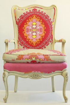 A gorgeous chair redo from Wild Chairy, in House of Fifty mag