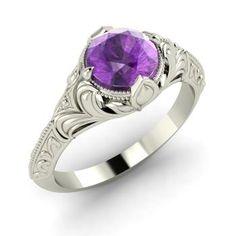 Round Amethyst Ring in 14k White Gold