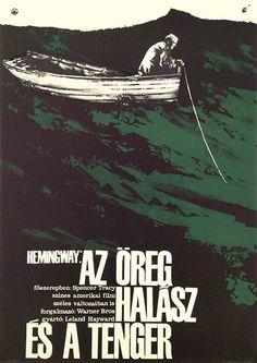 """Clásico póster húngaro en favor de la película, """"El Viejo y el Mar"""" de Hemingway."""