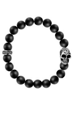 Onyx Bead Bracelet w/Day of the Dead Skull Harley Davidson Jewelry, Goth Jewelry, Jewellery, Day Of The Dead Skull, Beaded Necklace, Beaded Bracelets, King Baby, Skull Bracelet, Beaded Skull