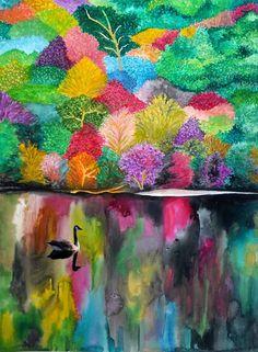 Hiilite Walls Abstract Nature, Abstract Art, Illustrations, Illustration Art, Monochrom, Naive Art, Leaf Art, Wildlife Art, Acrylic Art
