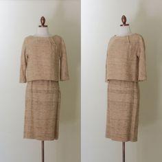 vintage 1960s tan nubby silk top and skirt set by inheritedattire