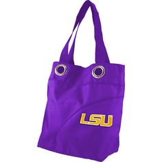 Littlearth Color Sheen Tote - SEC Teams - Louisiana State University -... (39 AUD) ❤ liked on Polyvore featuring bags, handbags, tote bags, fabric handbags, purple, hand bags, tote purses, tote hand bags, grommet tote and purple purse