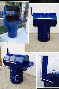 Ugly drum smoker bbq project my boys and i did from two oil drums. Use as a smoker or a bbq. Even has a fold down side shelf made from another drum bottom and a charcoal box for the bbq charcoal ashes. Bottom has a door that opens for smoker fire. Cooks real well