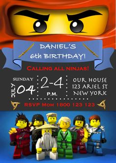 Ninjago Invitation, Ninjago Lego Birthday Party Invitation - PDF and JPEG…