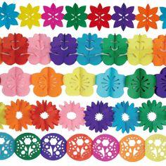 Un precioso pack de guirnaldas para decorar fiestas, de www.fiestafacil.com - $8.95 para 5 / A stunning pack of paper garlands to decorate your party, from www.fiestafacil.com
