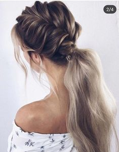 50 Glamorous And Trendy Ponytail Hairstyles For This Winter - Page 7 of 49 Messy Ponytail Hairstyles, Pretty Hairstyles, Wedding Hairstyles, Summer Hairstyles, Bridesmaid Hair, Prom Hair, Mohawk, Wedding Hair And Makeup, Hair Dos