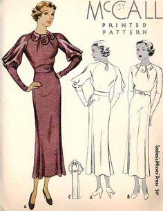 MCCALL Pattern 7982 | 1930s Ladies' & Misses' Dress 1930s Fashion, Art Deco Fashion, Retro Fashion, Vintage Fashion, Vintage Dress Patterns, Vintage Dresses, Clothing Patterns, Retro Clothing, Retro Outfits