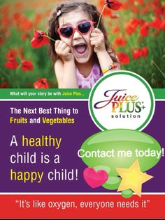 I love my Juice Plus!! A neat feeling doing something healthy for my family!! Check out these sites for more info: wholefood4health.com gardens4health.com