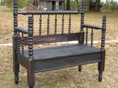 I like the addition of the twisted trim on the front of the bench. Bed turned bench