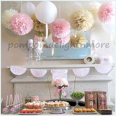 Mix 6 tissue paper pompoms, 6 paper  lantern..wedding//nursery decor// baptism/birthday/ bridal baby shower  graduation party-