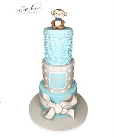 Simple Baby Boy baby shower cake with adorable monkey on top! Call or email to order your celebration cake today! Click visit to learn more! Baby Shower Cakes For Boys, Baby Boy Shower, Cakes Today, Cupcake Wars, Simple Baby Shower, Custom Cakes, Dessert Table, Food Network Recipes