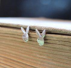 Rabbit Stud Earrings. Sterling Silver Bunny by NadinArtDesign, $20.00