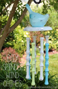 This #DIY #spindle #windchime is a gorgeous way to bring some #antique flair to your #garden or #porch! All you need is a #drill plus your #spindles and fishing wire for these #pretty #chimes! #home #craft