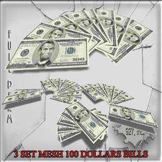 Mesh 100 Dollars Bills 3 set  Full perm
