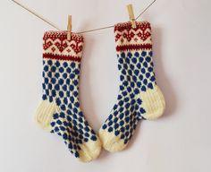 Handknit long wool women socks blue dots knit hearts by WoolSpace, $42.00