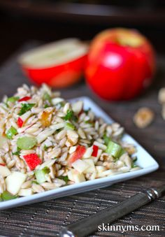 Farro Salad with Apples and Walnuts - Our Farro salad  is bursting with fall flavors!  With just enough crunch from clean-eating ingredients like celery, apples, and walnuts, this healthy salad can be filling enough to be used as a main dish.  If you are new to cooking with farro, it is actually one of the oldest cultivated grains in the world.  It is a whole grain that has twice the protein of regular wheat. #weightloss #lowcalorie #cleaneating #superfoods #weightwatchers