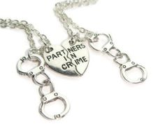 3 Partners In Crime Necklaces Best Friends Set by BellaAniela