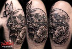 Skull rose butterfly tattoo by mehdi rasouli broken tooth tattoos. Rose And Butterfly Tattoo, Butterfly Tattoos Images, Tattoo Images, Tooth Tattoo, Tattoo Outline, Word Tattoos, Arm Tattoo, Black Tattoos, Teeth