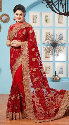 a439d998e4e9a3 Beautiful Indian Women Favorite hot red color sarees collection at mirraw.  Red Color Saree give