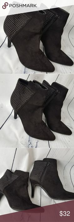 """Nine West black studded ankle booties 10 Nine West black suede ankle booties with silver studs, inside zipper. Few studs missing but does not ruin the look of these cute booties! Size 10. 3.5"""" heel. Nine West Shoes Ankle Boots & Booties"""