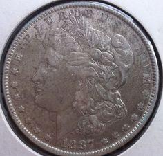 1887 P Morgan Dollar $1 Silver Philadelphia Mint United States Coin Great Detail