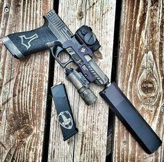 Pistol, silencer, scope, guns, weapons, self defense, protection, 2nd amendment, America, firearms, munitions #guns #weapons