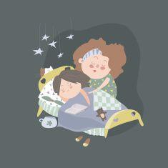 Mom kisses daughter at bedtime vector art illustration