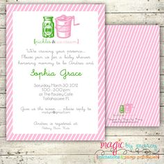 Perfect retro pickles and ice cream baby shower invitations from magic by marcy