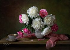 With white peonies - null