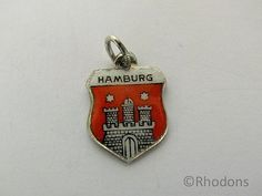 Silver Enamel Travel Shield Charm  Hamburg by Rhodons on Etsy,
