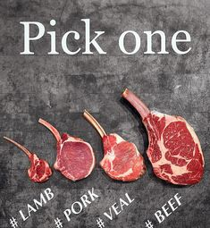 """WHICH CHOP WOULD YOU PICK ? We got them all  #lamb #pork #veal #beef #lambchop #porkchop #vealchop #cowboychop #meats #butcher #chef #chefsroll…"" Steak Recipes, Grilling Recipes, Cooking Recipes, Meat Steak, How To Grill Steak, Table D Hote, Meat Shop, Steaks, I Love Food"