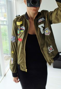 KHAKI GREEN BLACK BOMBER JACKET WITH PATCHES